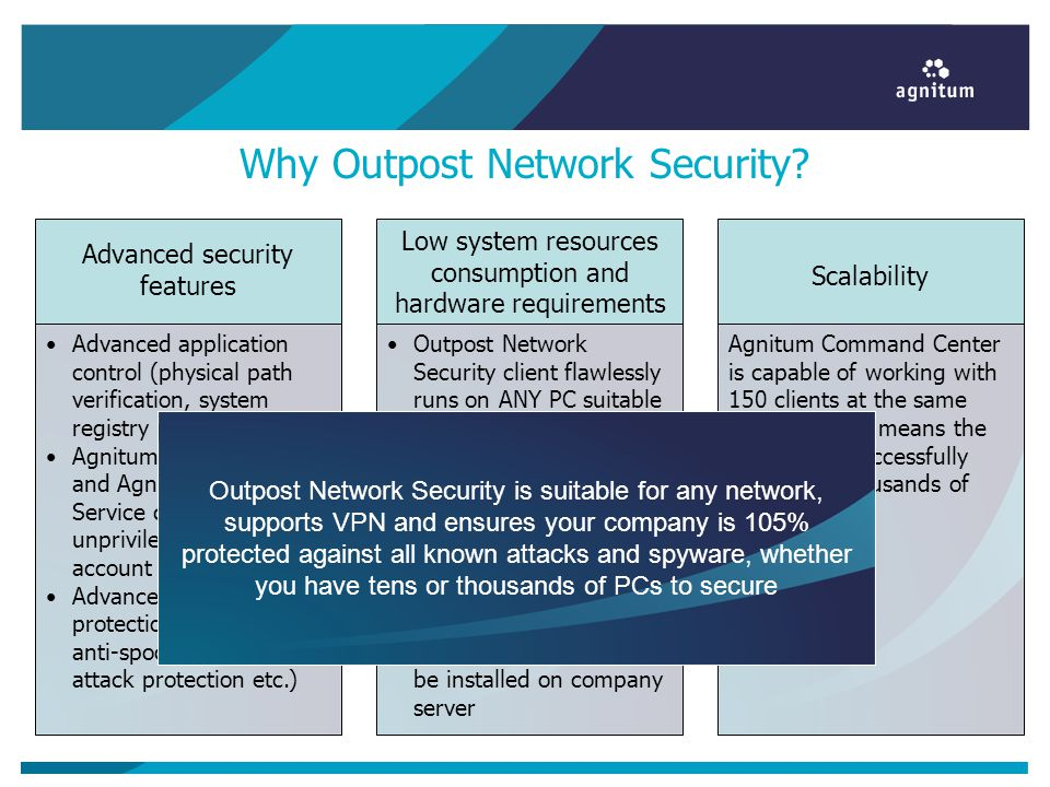 Why Outpost Network Security? Advanced application control (physical path verification, system registry path verification) Agnitum Update Service and