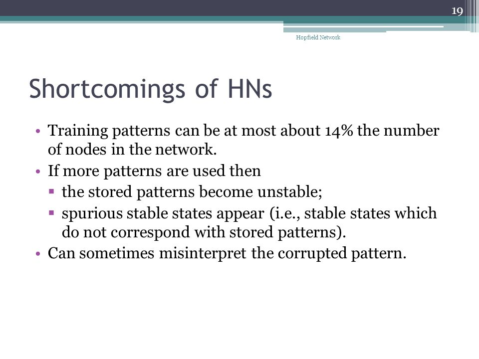Shortcomings of HNs Training patterns can be at most about 14% the number of nodes in the network.