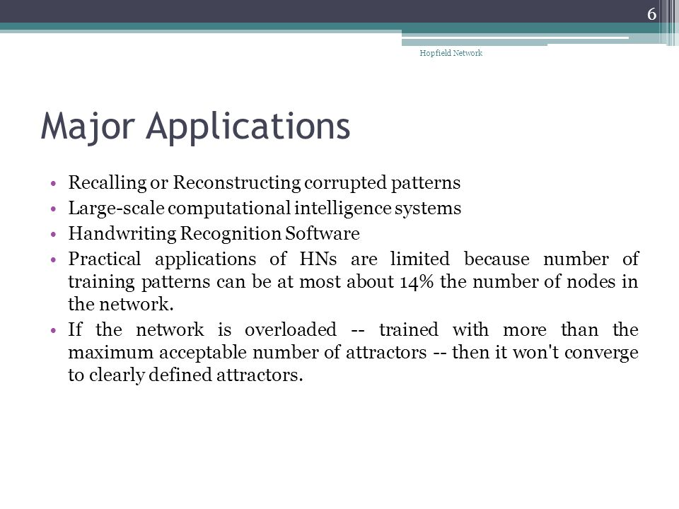 Major Applications Recalling or Reconstructing corrupted patterns Large-scale computational intelligence systems Handwriting Recognition Software Prac