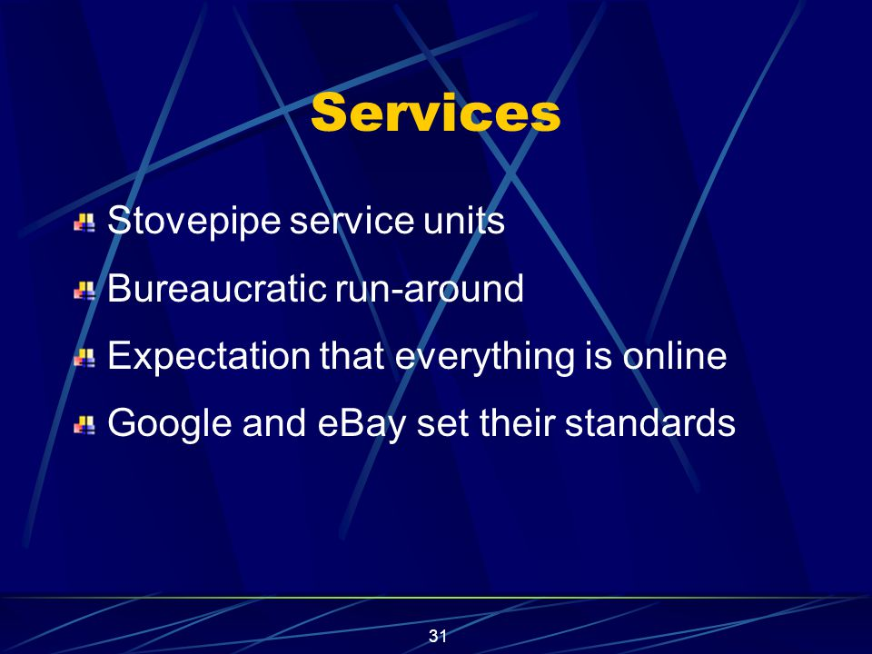 31 Services Stovepipe service units Bureaucratic run-around Expectation that everything is online Google and eBay set their standards