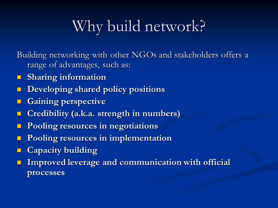 Why build network.