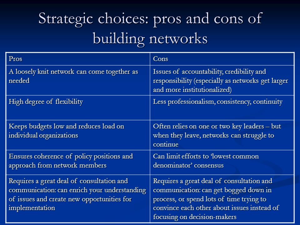 Strategic choices: pros and cons of building networks ProsCons A loosely knit network can come together as needed Issues of accountability, credibility and responsibility (especially as networks get larger and more institutionalized) High degree of flexibility Less professionalism, consistency, continuity Keeps budgets low and reduces load on individual organizations Often relies on one or two key leaders – but when they leave, networks can struggle to continue Ensures coherence of policy positions and approach from network members Can limit efforts to 'lowest common denominator' consensus Requires a great deal of consultation and communication: can enrich your understanding of issues and create new opportunities for implementation Requires a great deal of consultation and communication: can get bogged down in process, or spend lots of time trying to convince each other about issues instead of focusing on decision-makers