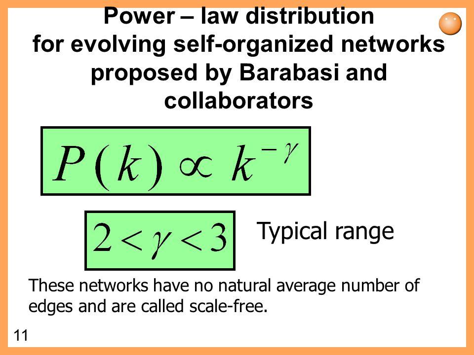 10 Poisson distribution Degree distribution ln P(k) ln k Characteristic scale.