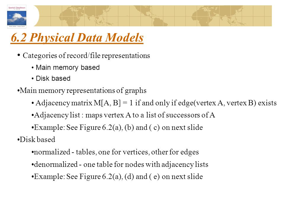 6.2 Physical Data Models Categories of record/file representations Main memory based Disk based Main memory representations of graphs Adjacency matrix