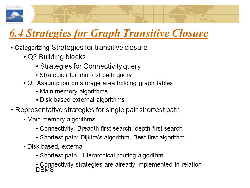 6.4 Strategies for Graph Transitive Closure Categorizing Strategies for transitive closure Q? Building blocks Strategies for Connectivity query Strate