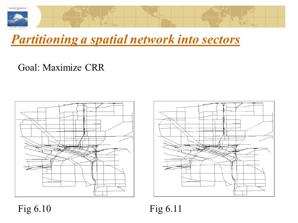 Partitioning a spatial network into sectors Fig 6.10Fig 6.11 Goal: Maximize CRR