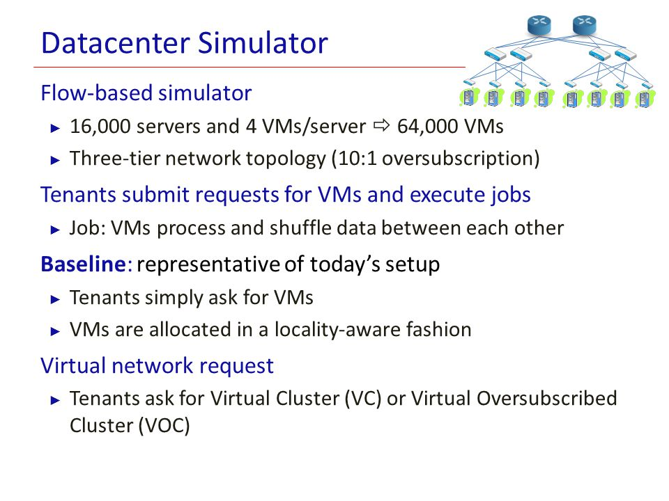 Datacenter Simulator Flow-based simulator ► 16,000 servers and 4 VMs/server  64,000 VMs ► Three-tier network topology (10:1 oversubscription) Tenants