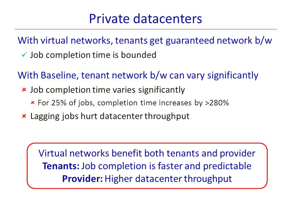 Private datacenters With virtual networks, tenants get guaranteed network b/w Job completion time is bounded With Baseline, tenant network b/w can var