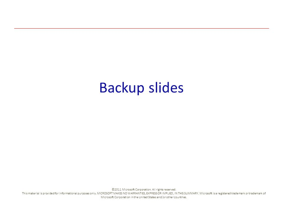 Backup slides ©2011 Microsoft Corporation. All rights reserved. This material is provided for informational purposes only. MICROSOFT MAKES NO WARRANTI