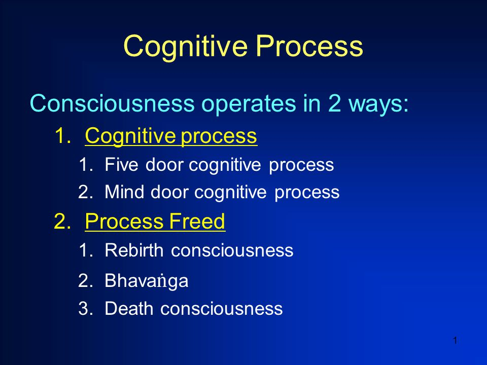 1 Cognitive Process Consciousness operates in 2 ways: 1.Cognitive process 1.Five door cognitive process 2.Mind door cognitive process 2.Process Freed 1.Rebirth consciousness 2.Bhava ï ga 3.Death consciousness