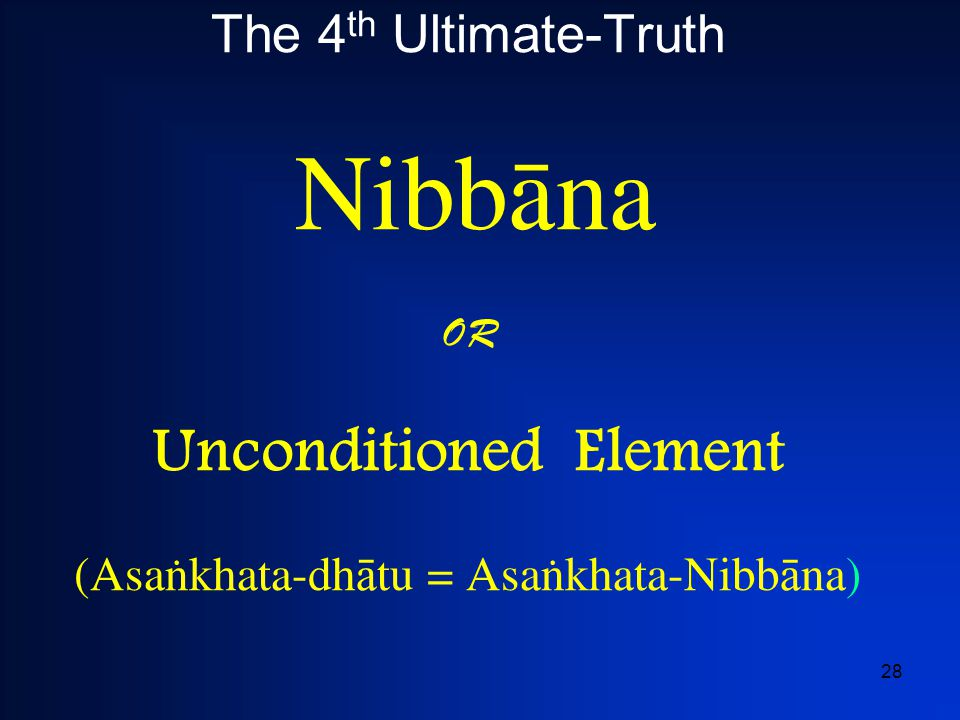 28 The 4 th Ultimate-Truth Nibbàna OR Unconditioned Element (Asaïkhata-dh  tu = Asaïkhata-Nibb  na )