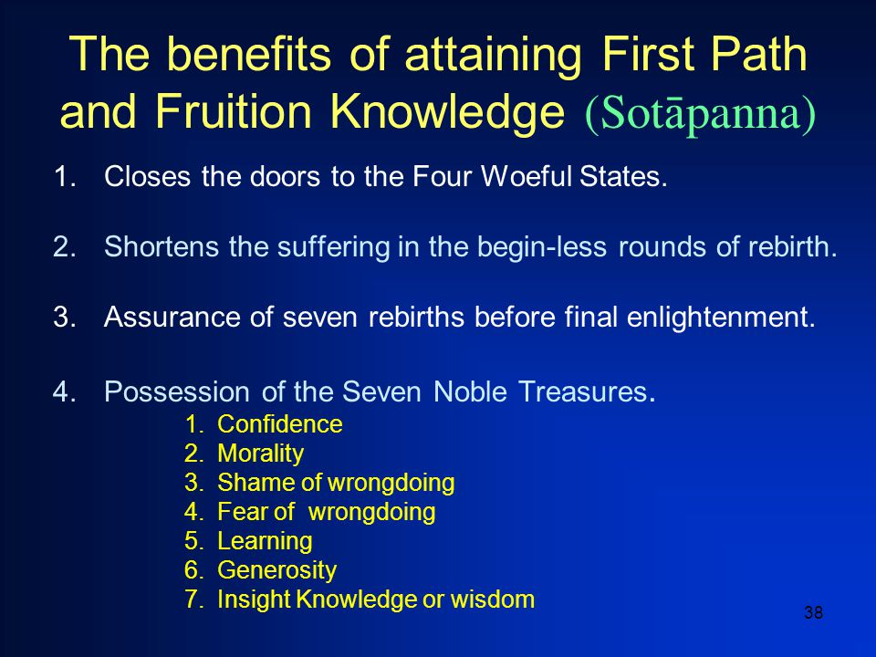 38 The benefits of attaining First Path and Fruition Knowledge (Sot  panna) 1.Closes the doors to the Four Woeful States.