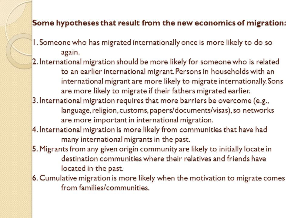 Cumulative migration What factors underlie cumulative migration.