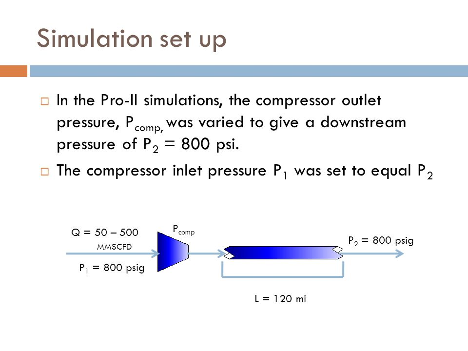 Simulation set up  In the Pro-II simulations, the compressor outlet pressure, P comp, was varied to give a downstream pressure of P 2 = 800 psi.