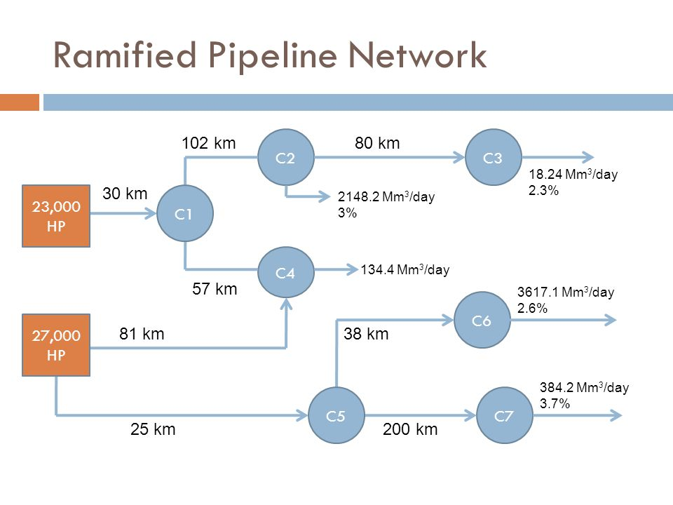 Ramified Pipeline Network C2 23,000 HP C3 C4 C6 C7 18.24 Mm 3 /day 2.3% 30 km 80 km102 km 57 km 27,000 HP 2148.2 Mm 3 /day 3% 134.4 Mm 3 /day 81 km 25 km200 km 38 km 3617.1 Mm 3 /day 2.6% 384.2 Mm 3 /day 3.7% C5 C1