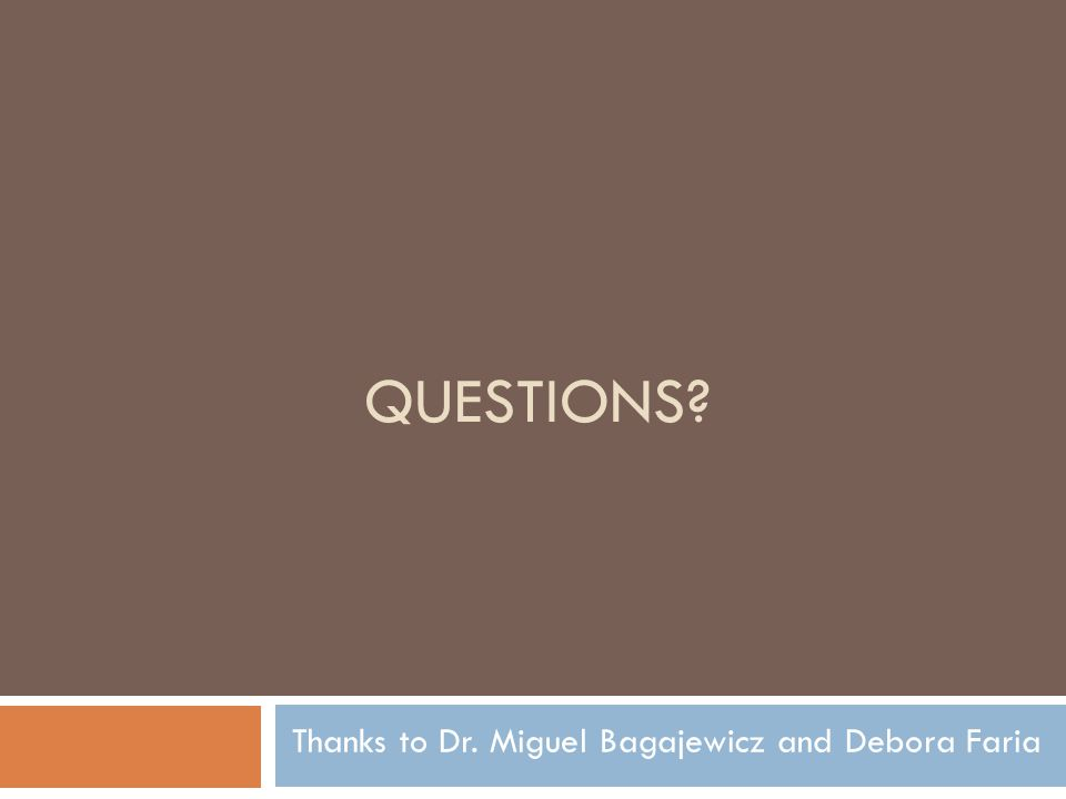 QUESTIONS? Thanks to Dr. Miguel Bagajewicz and Debora Faria