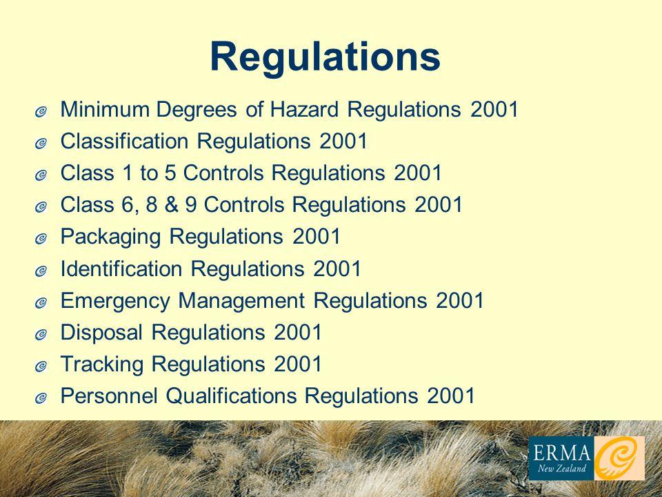 Regulations Minimum Degrees of Hazard Regulations 2001 Classification Regulations 2001 Class 1 to 5 Controls Regulations 2001 Class 6, 8 & 9 Controls