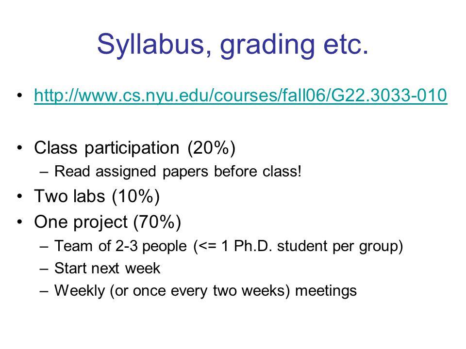 Syllabus, grading etc.