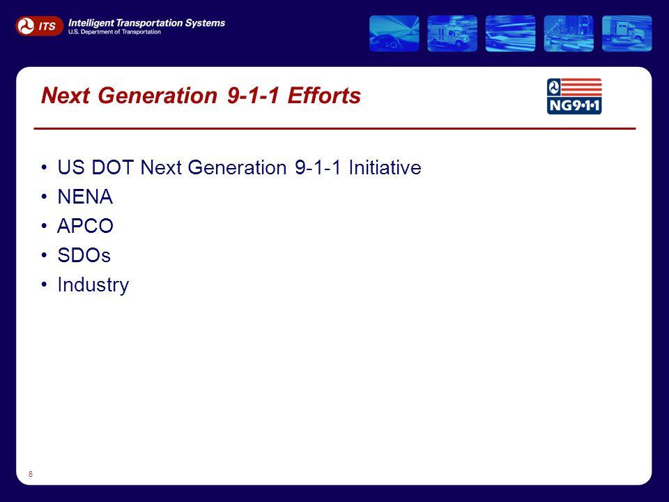 6 Next Generation 9-1-1 Efforts US DOT Next Generation 9-1-1 Initiative NENA APCO SDOs Industry