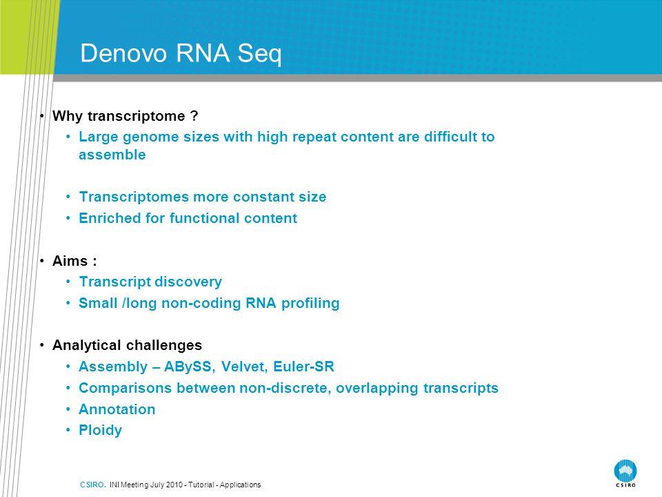CSIRO.INI Meeting July 2010 - Tutorial - Applications Denovo RNA Seq Why transcriptome .