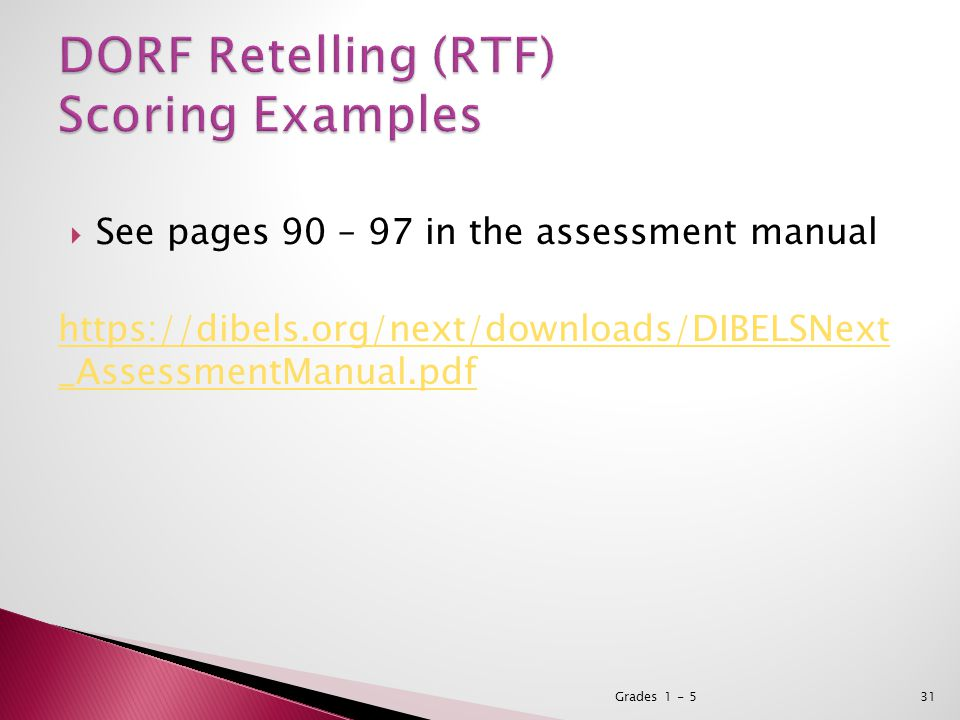  See pages 90 – 97 in the assessment manual https://dibels.org/next/downloads/DIBELSNext _AssessmentManual.pdf Grades 1 - 531
