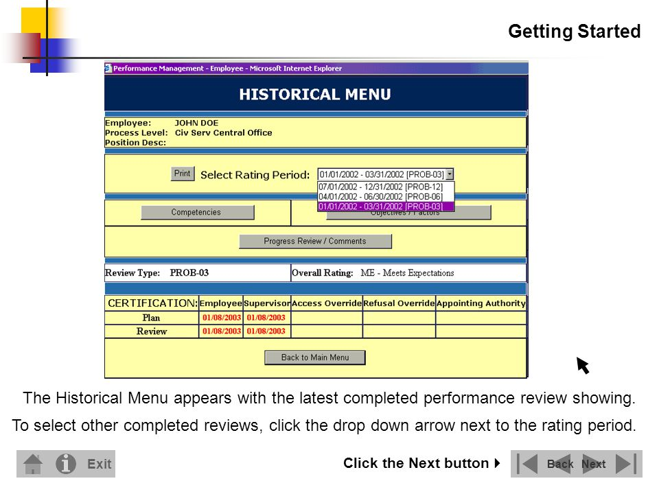 Getting Started The Historical Menu appears with the latest completed performance review showing.