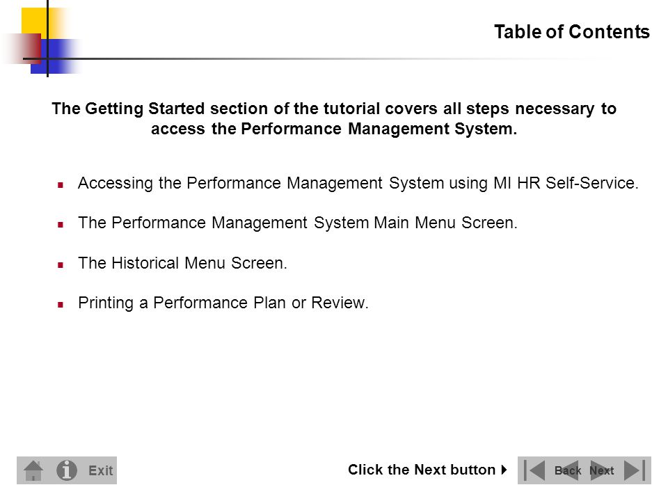 Accessing the Performance Management System using MI HR Self-Service.