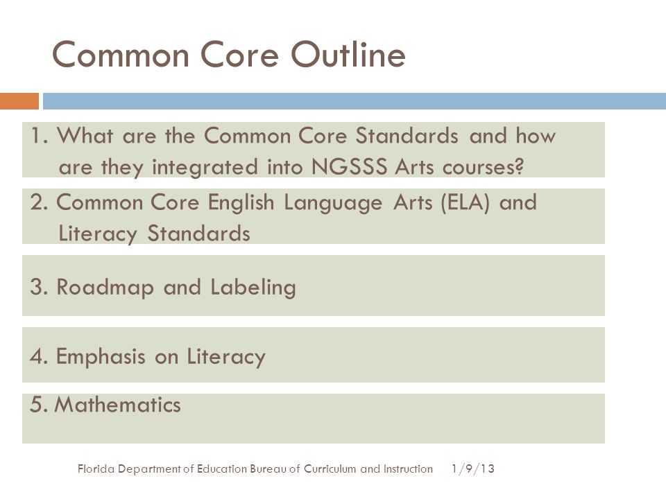 Direct Page Numbers in Common Core Document 1/9/13Florida Department of Education Bureau of Curriculum and Instruction  Page 9: K-5 Standards for English Language Arts and Literacy in History/Social Studies, Science, and Technical Subjects.