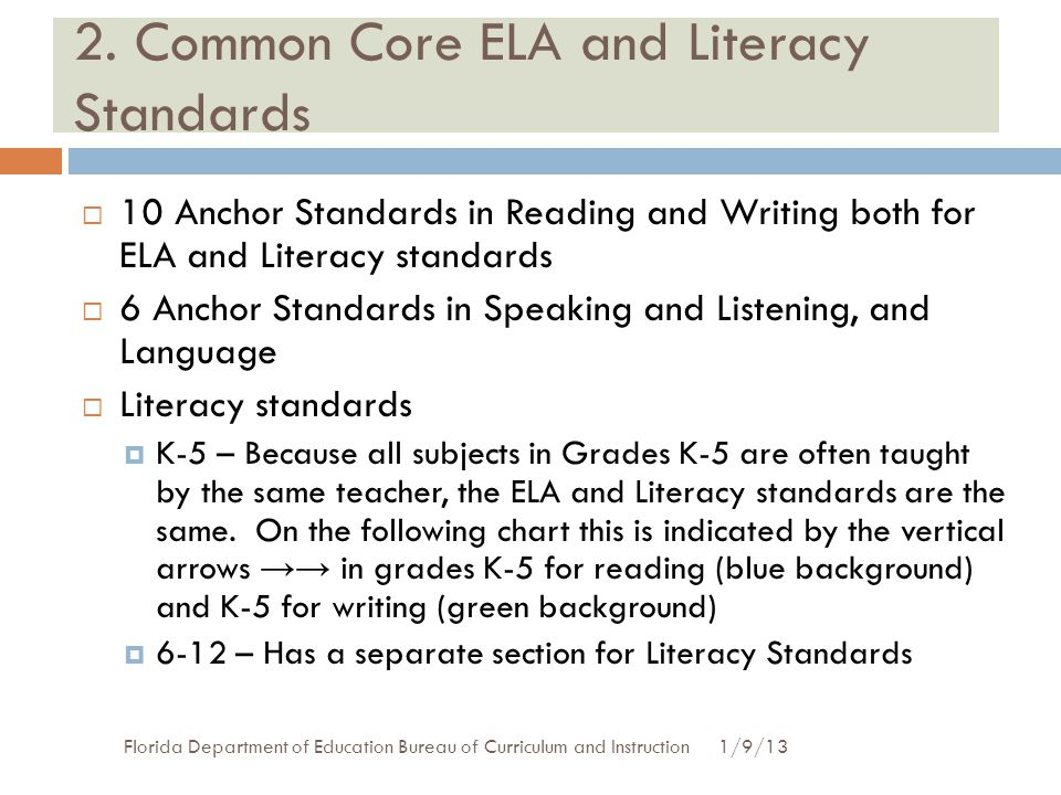 2. Common Core ELA and Literacy Standards 1/9/13Florida Department of Education Bureau of Curriculum and Instruction  10 Anchor Standards in Reading