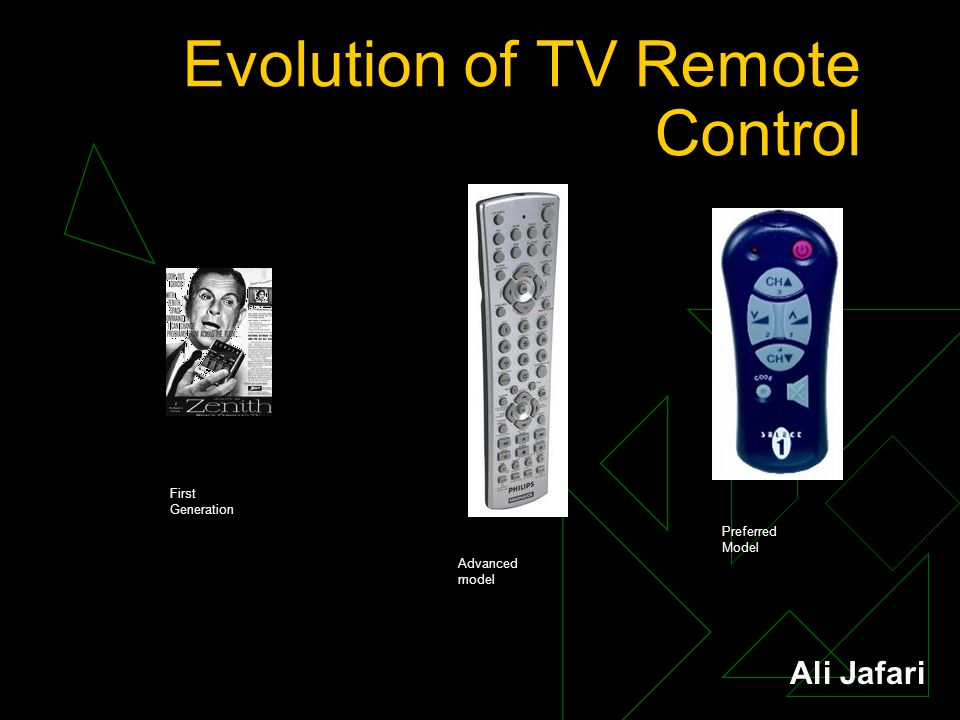 Evolution of TV Remote Control First Generation Advanced model Preferred Model Ali Jafari