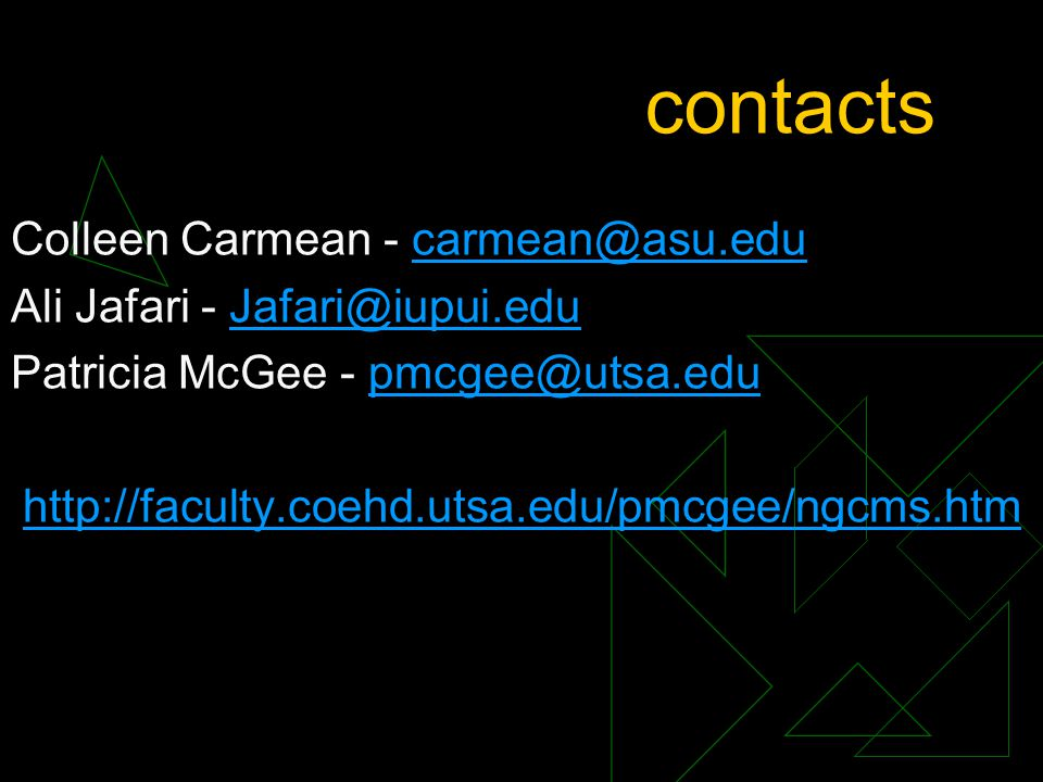 contacts Colleen Carmean - Ali Jafari - Patricia McGee -