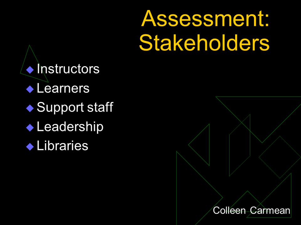 Assessment: Stakeholders  Instructors  Learners  Support staff  Leadership  Libraries Colleen Carmean
