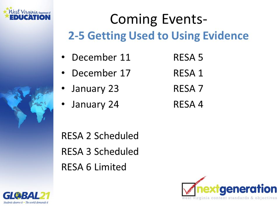 Coming Events- 2-5 Getting Used to Using Evidence December 11RESA 5 December 17RESA 1 January 23RESA 7 January 24RESA 4 RESA 2 Scheduled RESA 3 Scheduled RESA 6 Limited