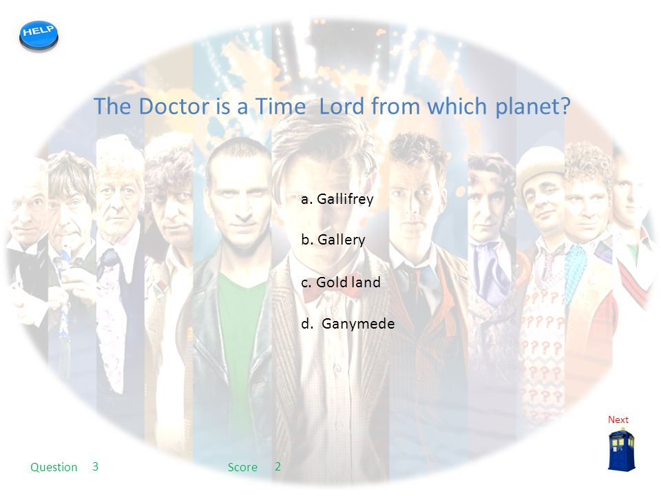 My quiz template The Doctor is a Time Lord from which planet.
