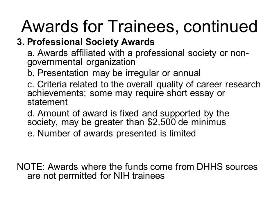 3. Professional Society Awards a.