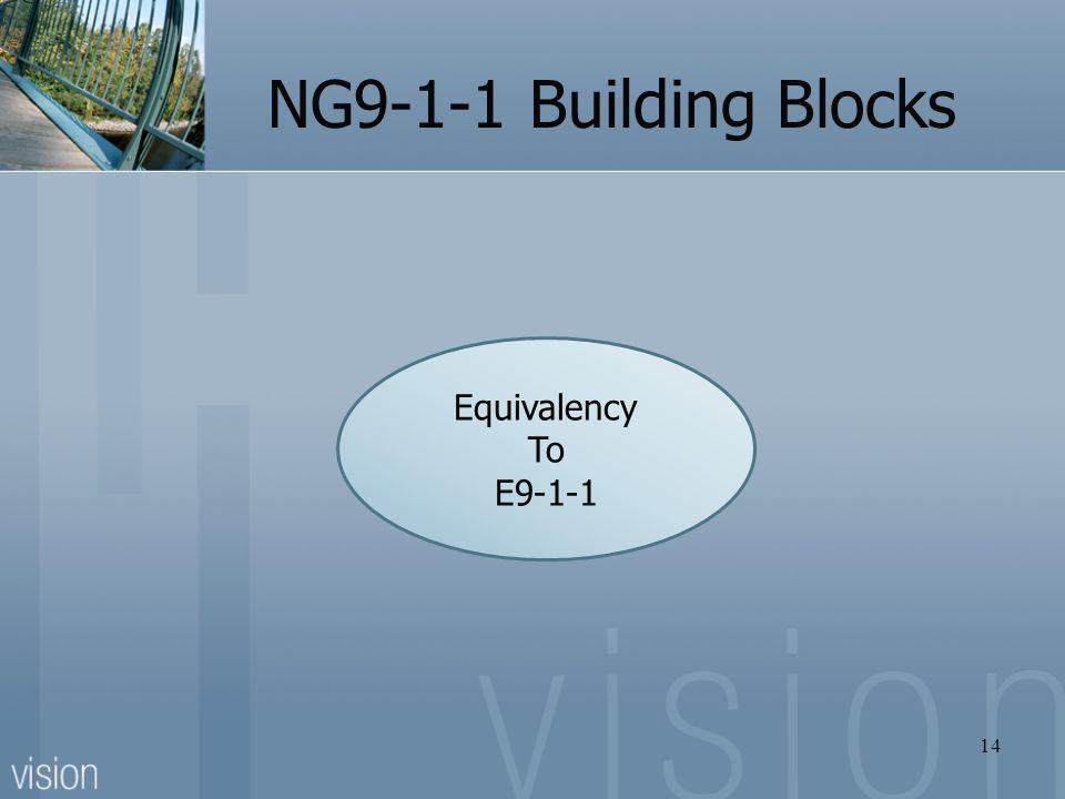 NG9-1-1 Building Blocks Equivalency To E9-1-1 14