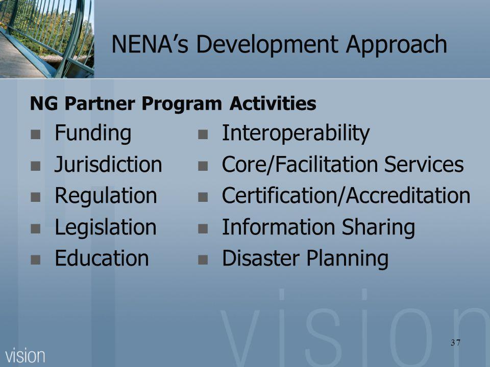 NENA's Development Approach NG Partner Program Activities Funding Jurisdiction Regulation Legislation Education Interoperability Core/Facilitation Ser