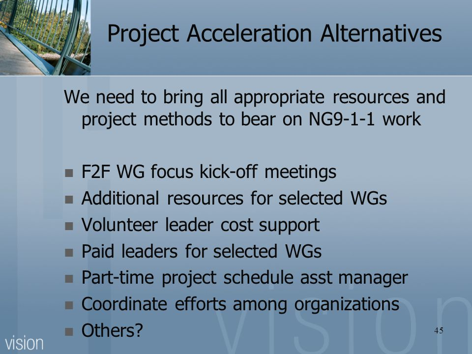Project Acceleration Alternatives We need to bring all appropriate resources and project methods to bear on NG9-1-1 work F2F WG focus kick-off meeting