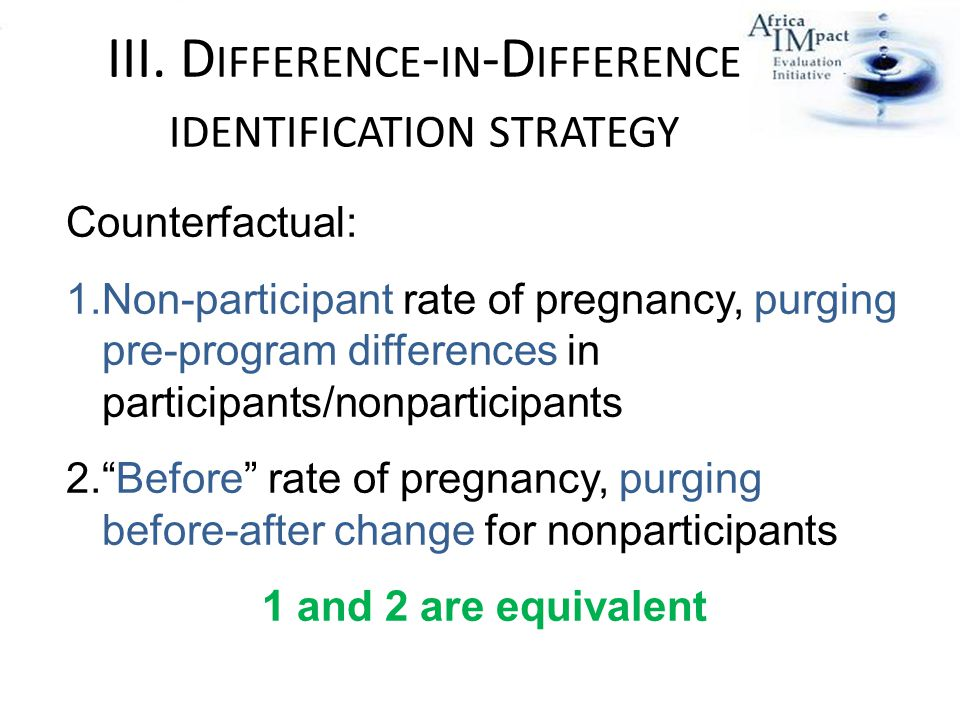 III. D IFFERENCE - IN -D IFFERENCE IDENTIFICATION STRATEGY Counterfactual: 1.Non-participant rate of pregnancy, purging pre-program differences in par