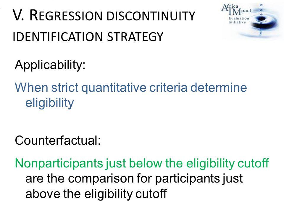 V. R EGRESSION DISCONTINUITY IDENTIFICATION STRATEGY Applicability: When strict quantitative criteria determine eligibility Counterfactual: Nonpartici