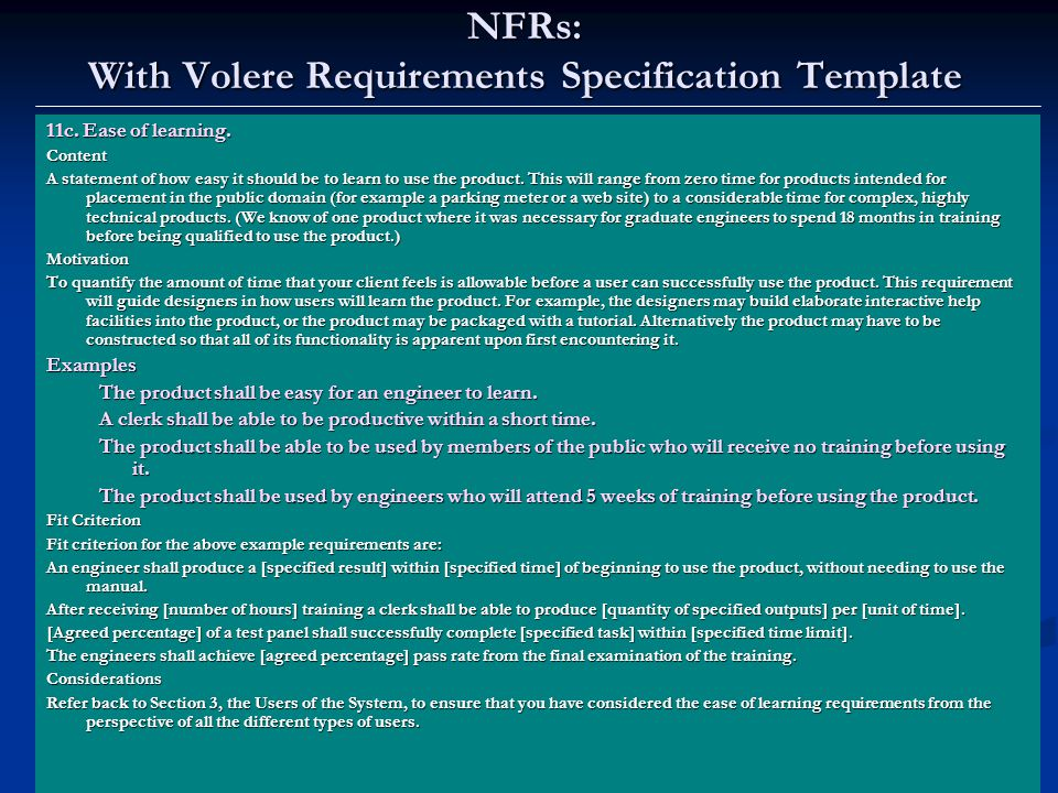 Lawrence Chung NFRs: With Volere Requirements Specification Template 11c.