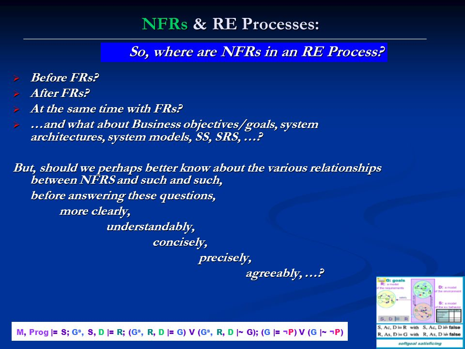 Lawrence Chung NFRs & RE Processes:  Before FRs?  After FRs?  At the same time with FRs?  …and what about Business objectives/goals, system archit