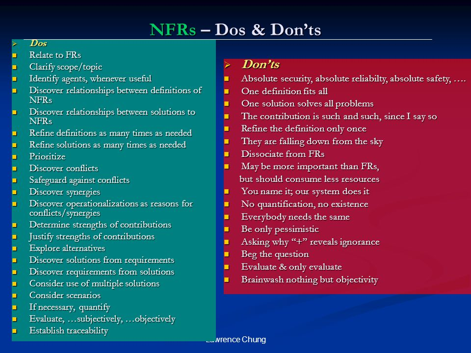 Lawrence Chung NFRs – Dos & Don'ts  Dos Relate to FRs Relate to FRs Clarify scope/topic Clarify scope/topic Identify agents, whenever useful Identify agents, whenever useful Discover relationships between definitions of NFRs Discover relationships between definitions of NFRs Discover relationships between solutions to NFRs Discover relationships between solutions to NFRs Refine definitions as many times as needed Refine definitions as many times as needed Refine solutions as many times as needed Refine solutions as many times as needed Prioritize Prioritize Discover conflicts Discover conflicts Safeguard against conflicts Safeguard against conflicts Discover synergies Discover synergies Discover operationalizations as reasons for conflicts/synergies Discover operationalizations as reasons for conflicts/synergies Determine strengths of contributions Determine strengths of contributions Justify strengths of contributions Justify strengths of contributions Explore alternatives Explore alternatives Discover solutions from requirements Discover solutions from requirements Discover requirements from solutions Discover requirements from solutions Consider use of multiple solutions Consider use of multiple solutions Consider scenarios Consider scenarios If necessary, quantify If necessary, quantify Evaluate, …subjectively, …objectively Evaluate, …subjectively, …objectively Establish traceability Establish traceability  Don'ts Absolute security, absolute reliabilty, absolute safety, ….