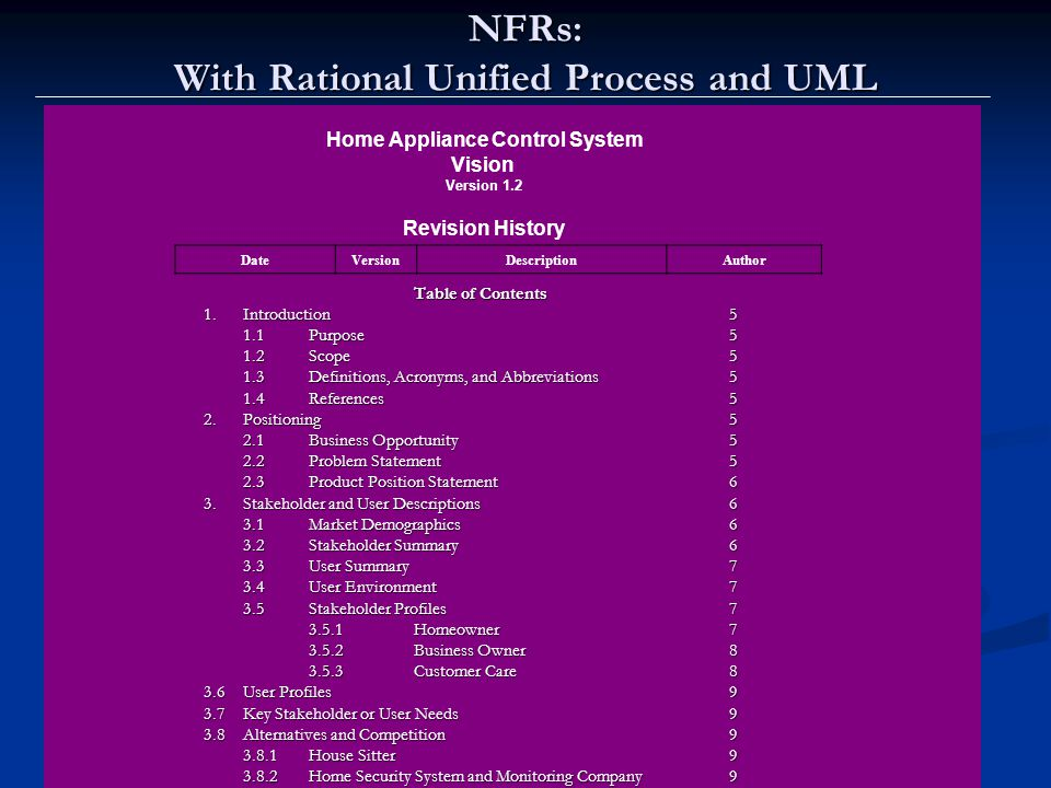 Lawrence Chung NFRs: With Rational Unified Process and UML Home Appliance Control System Vision Version 1.2 Revision History DateVersionDescriptionAut