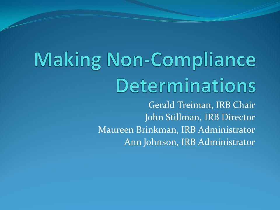 Gerald Treiman, IRB Chair John Stillman, IRB Director Maureen Brinkman, IRB Administrator Ann Johnson, IRB Administrator