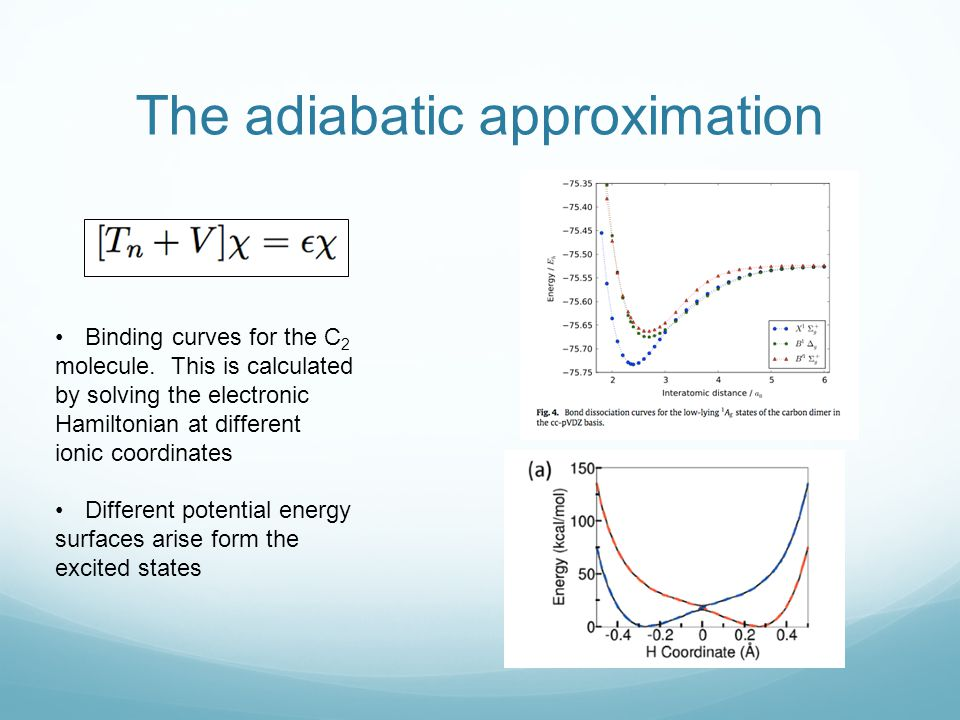 The adiabatic approximation Binding curves for the C 2 molecule. This is calculated by solving the electronic Hamiltonian at different ionic coordinat