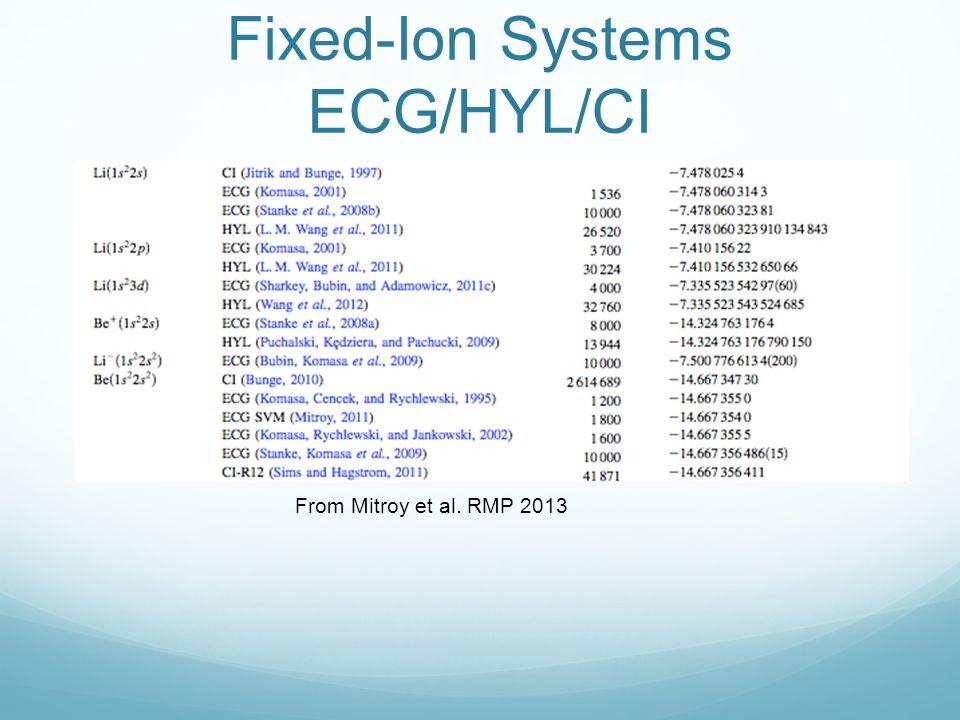 Fixed-Ion Systems ECG/HYL/CI From Mitroy et al. RMP 2013