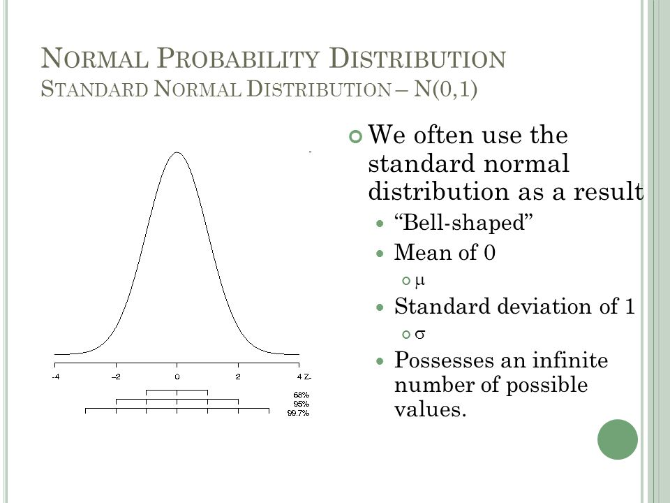 N ORMAL P ROBABILITY D ISTRIBUTION The probability of any one of those values occurring is essentially zero (but never quite) Curve has a total area or probability = 1 For normal distributions + 1 SD ~ 68% + 2 SD ~ 95% + 3 SD ~ 99.9% Note: not all bell shaped symmetrical distributions are normal distributions