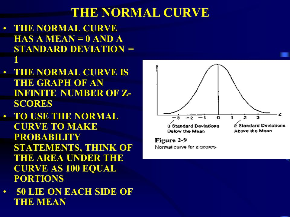 THE NORMAL CURVE SMOOTH, BILATERALLY SYMMETRICAL CURVE CENTERED AROUND A POINT THAT IS SIMULTANEOUSLY THE MODE, MEDIAN, AND MEAN HENCE, THE CENTER POINT IS BOTH THE MOST FREQUENT SCORE AND THE SCORE BELOW AND ABOVE WHICH HALF THE SCORES FALL