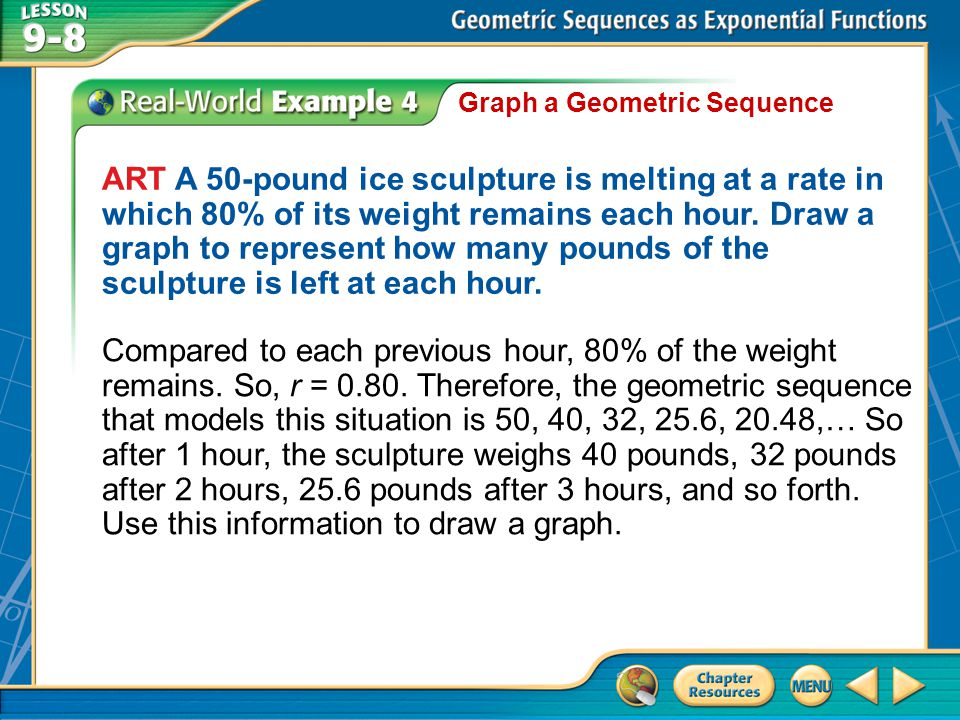 Example 4 Graph a Geometric Sequence ART A 50-pound ice sculpture is melting at a rate in which 80% of its weight remains each hour.